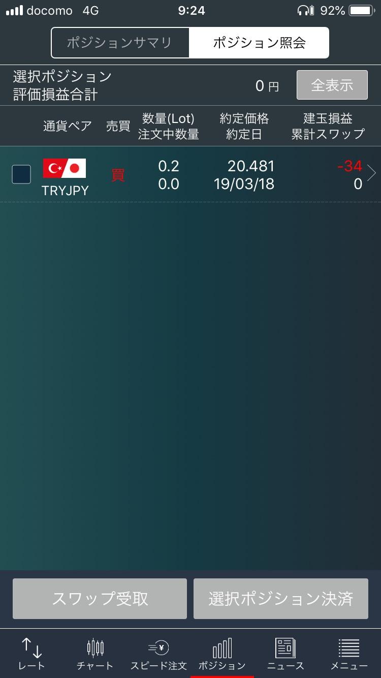 トルコリラ円のFX業者画面メモ