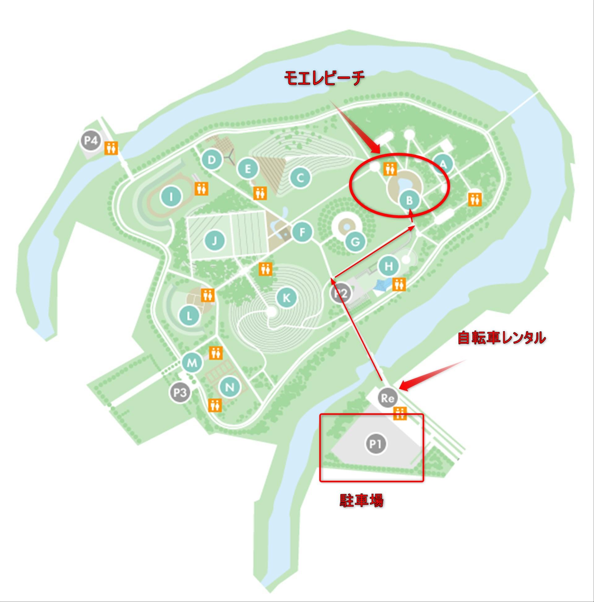 モエレ公園 水遊び場までの地図