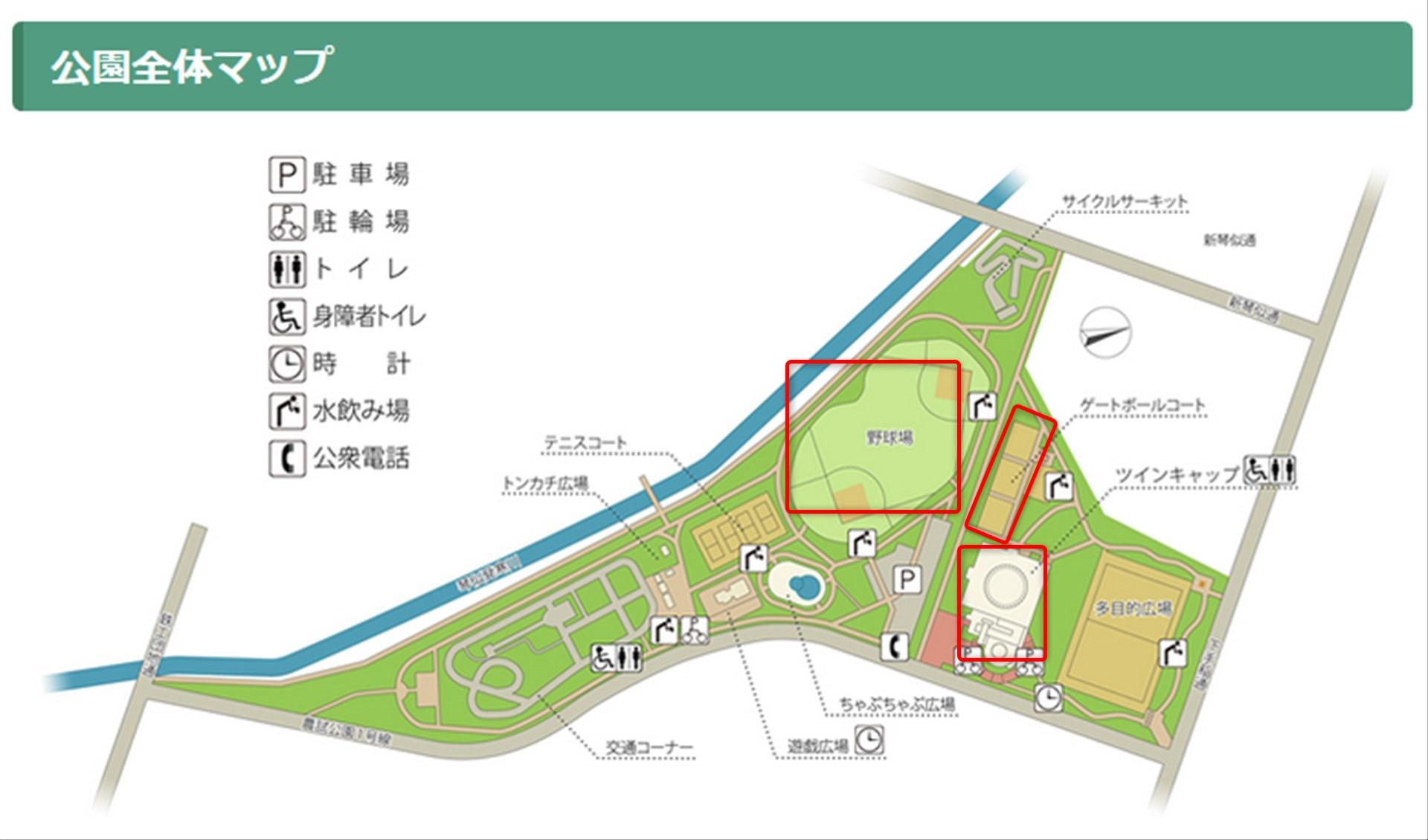 農試公園 アリーナ、野球場、ゲートボール マップ